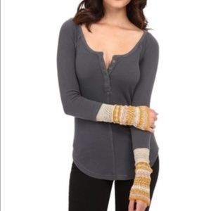 Free people thermal with knitted cuffs